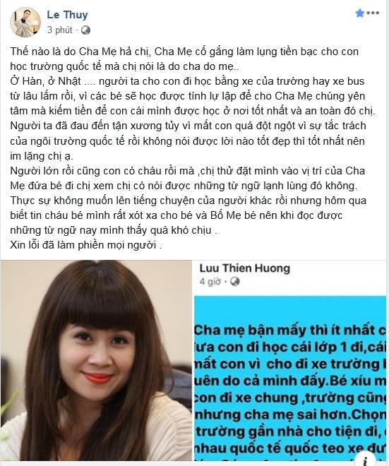 Lê Thúy công khai mắng Lưu Thiên Hương khi thấy đàn chị trách móc bố mẹ bé trai 6 tuổi tử vong vì bị quên trên xe bus-6