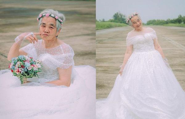Bộ ảnh 'Nội tôi 88 tuổi mặc váy cưới' của chàng trai sinh năm 2000 khiến dân mạng vừa phì cười, vừa cay mắt-3
