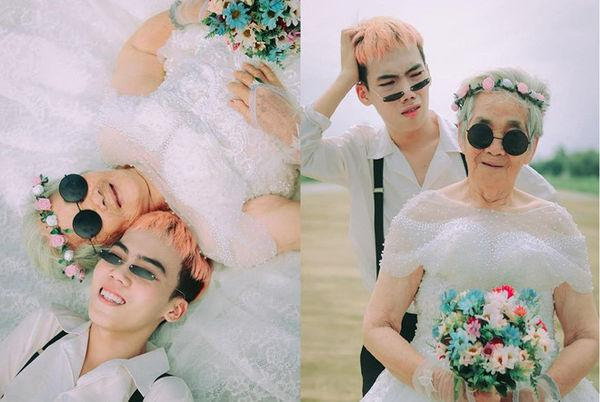 Bộ ảnh 'Nội tôi 88 tuổi mặc váy cưới' của chàng trai sinh năm 2000 khiến dân mạng vừa phì cười, vừa cay mắt-4