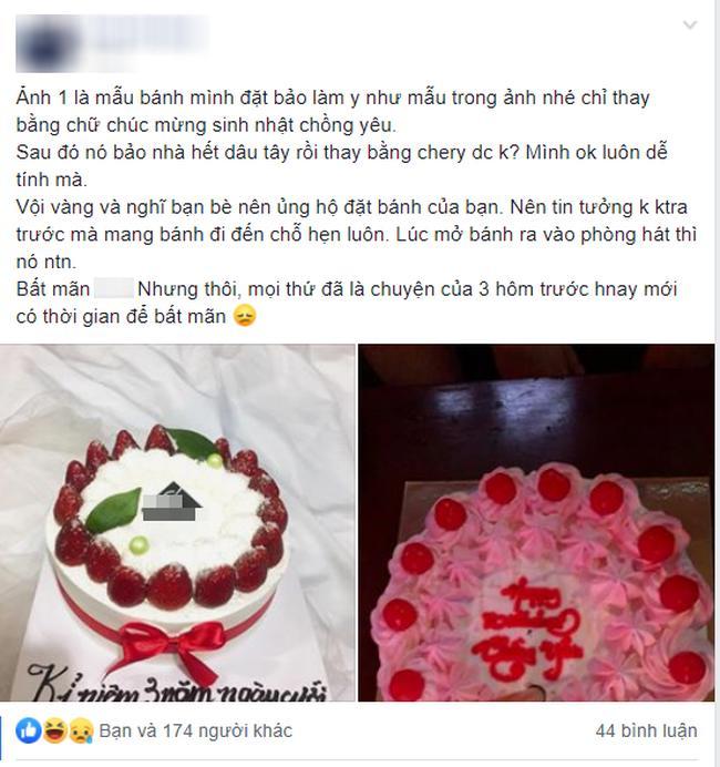 Chết lặng khi nhìn chiếc bánh sinh nhật đặt từ bạn thân để tặng chồng, cô nàng lên mạng xin ý kiến-1