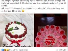 Chết lặng khi nhìn chiếc bánh sinh nhật đặt từ bạn thân để tặng chồng, cô nàng lên mạng xin ý kiến