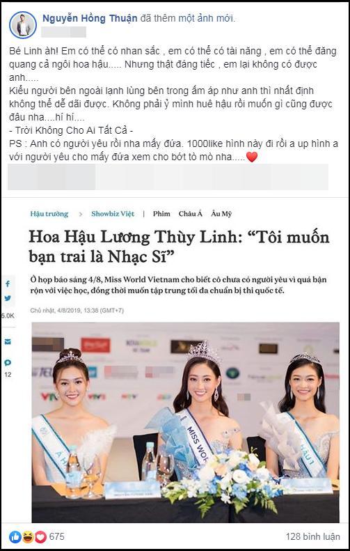 Quá hài khi nhạc sĩ Nguyễn Hồng Thuận nhắn hoa hậu Lương Thùy Linh: Em có mọi thứ nhưng không thể có anh-3