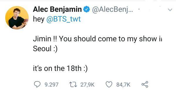 Jimin âm thầm đánh lẻ, trốn BTS đi xem concert của Alec Benjamin để đáp lại lời mời ngọt ngào trước đó-3