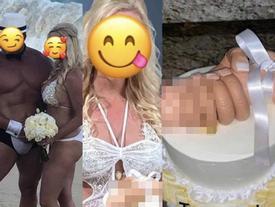 Cô dâu mặc bikini khiến quan khách bối rối, nhìn chiếc bánh cưới còn hốt hoảng hơn