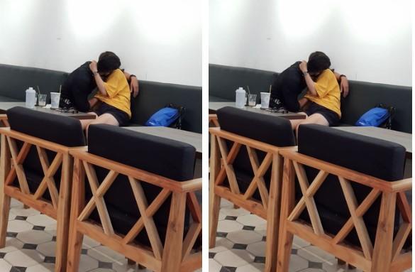 Ngứa mắt đôi tình nhân trẻ ôm hôn, sờ soạng thân thể nhau ngay trong quán tại quán cafe ở Sài Gòn-2