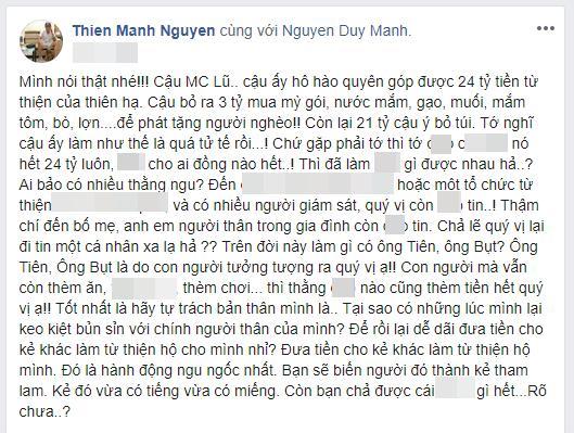 MC Phan Anh nói gì khi bị ca sĩ Duy Mạnh ám chỉ dùng 21 tỷ đồng tiền từ thiện để tư lợi bản thân?-1