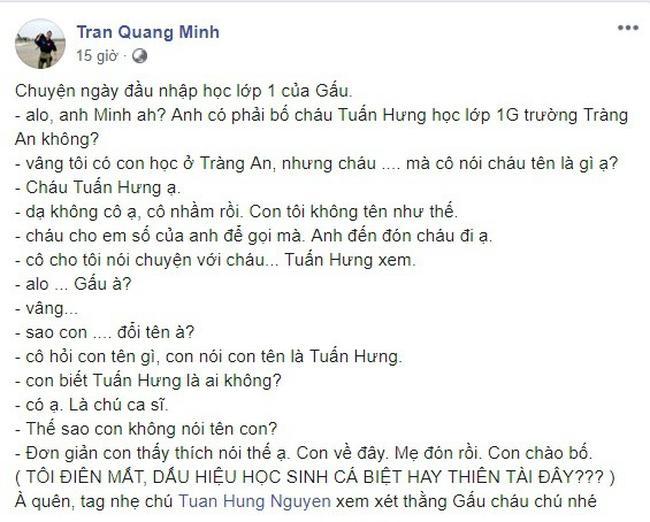 Lấy tên ca sĩ Tuấn Hưng mang ra chém gió với cô giáo, con trai 6 tuổi khiến BTV Quang Minh ngất trên cành quất-2