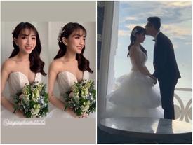 Không cá tính như khi chụp với siêu xe, con gái Minh Nhựa sexy hết nấc với váy cưới khoe vòng 1 'cực khủng'