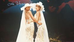 Kỳ Duyên và Minh Triệu nắm tay mặc váy cưới đôi, fan khẳng định: 'Tập trước để khi cưới đỡ ngại'