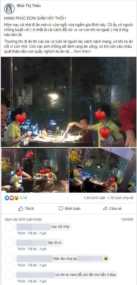 VZN News: Sau vụ võ sư đánh vợ, hình ảnh anh chồng 1 tay chăm 2 con nhỏ để vợ thảnh thơi ngồi ăn tại nhà hàng được ca tụng hết lời-1