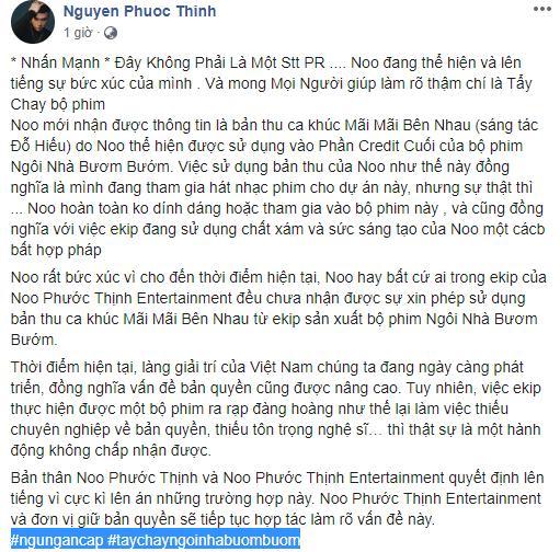 VZN News: Noo Phước Thịnh kêu gọi tẩy chay phim Ngôi Nhà Bươm Bướm vì dám xài chùa nhạc-1