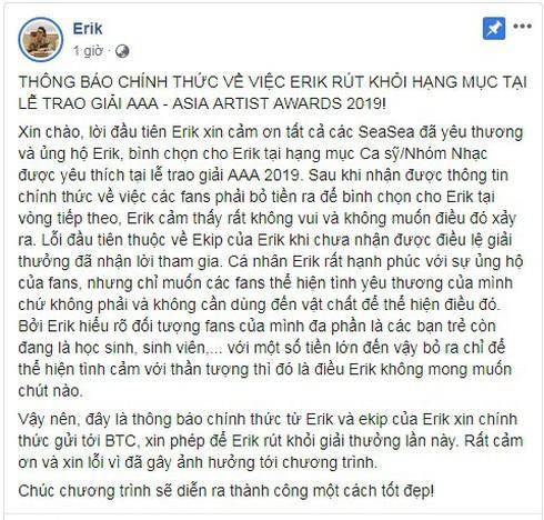 Sau Sơn Tùng, đến lượt Erik từ chối tranh giải Asia Artist Awards 2019-2