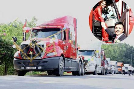 Chú rể 'chơi lớn', dùng đoàn xe đầu kéo container rước dâu 'nổi như cồn' cả mạng xã hội