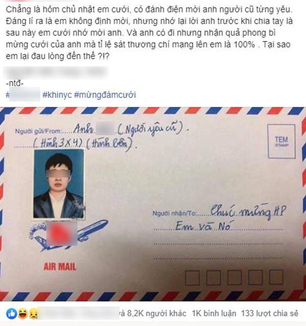Người yêu cũ gửi hẳn phong bì cưới ảnh thẻ để nhận diện khuôn mặt khiến cô dâu bất ngờ-1