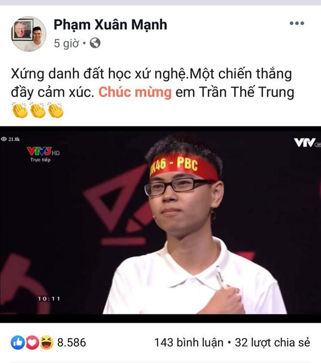 Trọng Hoàng, Xuân Mạnh khen quán quân Olympia xứng danh đất Nghệ-3