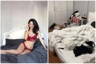 Hóa ra đằng sau những tấm ảnh sexy trên giường của hot girl Hàn Hằng là quang cảnh vừa bẩn vừa bừa thế này đây
