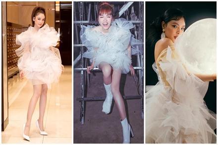 Lại thêm 2 mỹ nhân 'đụng hàng' váy 'bông tắm' với Hương Giang, bất ngờ là Sam tỏa sáng vượt bậc