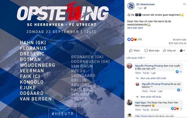 Fanpage CLB Heerenveen gọi tên Văn Hậu trước trận đấu-1