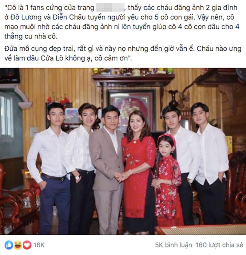 Bà mẹ Nghệ An thành tâm điểm chú ý khi đăng ảnh 4 cậu con trai đẹp như tranh vẽ nhưng vẫn ế lên mạng để tuyển dâu-1