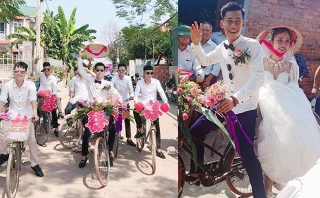 Đám cưới đẹp nhất thôn quê: Hàng chục trai làng hot boy đạp xe đến đón dâu làm ai cũng thích thú-1