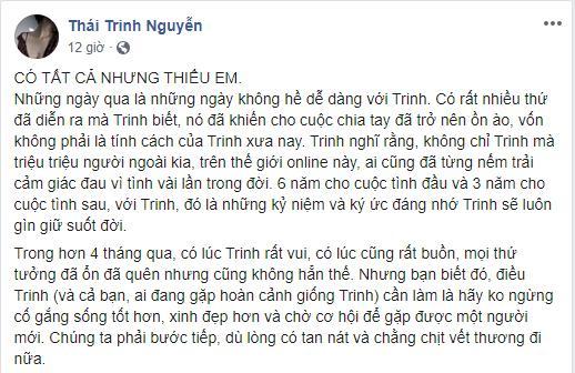 Thái Trinh hát Có Tất Cả Nhưng Thiếu Em đau xé lòng, ngầm ám chỉ lí do chia tay Quang Đăng chính vì Tuesday?-1