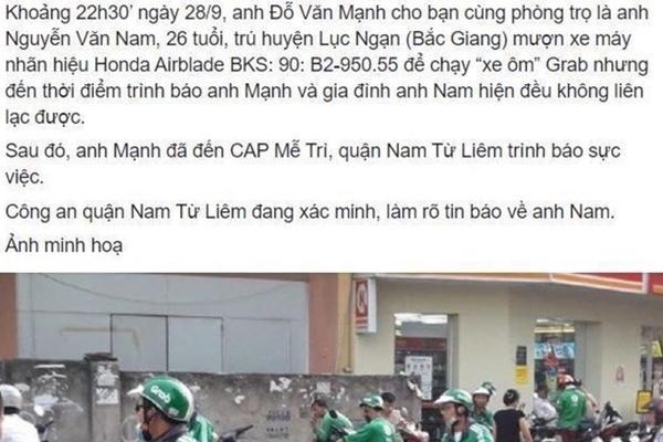 Sự thực về tài xế Grab ở Hà Nội mất tích nhiều ngày-1
