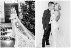 Một tuần sau đám cưới thế kỷ, dân tình mới được ngắm chiếc váy cưới siêu lộng lẫy của bà xã Justin Bieber