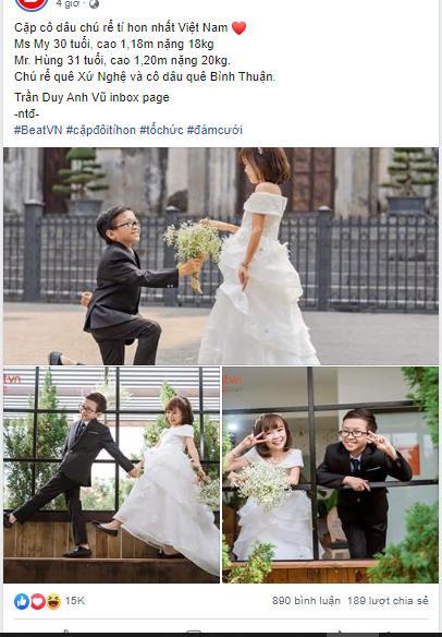 Cặp đôi tí hon nhất Việt Nam khoe ảnh cưới, dân mạng giật mình vì thân hình quá giống học sinh-1