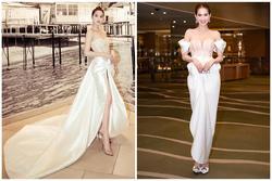 Ngọc Trinh 'nửa kín nửa hở' với corset xuyên thấu quấn khăn, gợi nhớ bộ đồ thị phi từng mặc ở Cannes