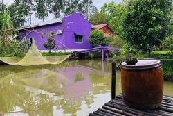Cư dân mạng bấn loạn vì căn nhà màu tím lịm nổi bật cả một vùng trời