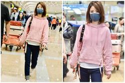 Lâm Tâm Như mặc áo nhăn nhúm, lộ thần sắc phờ phạc ở sân bay