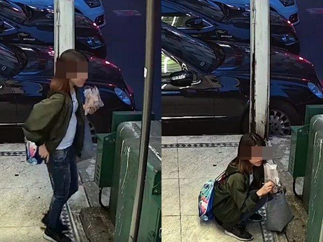 Đang đứng ăn kem, thiếu nữ đột ngột kéo quần ngồi sụp xuống làm chuyện khó tin-1
