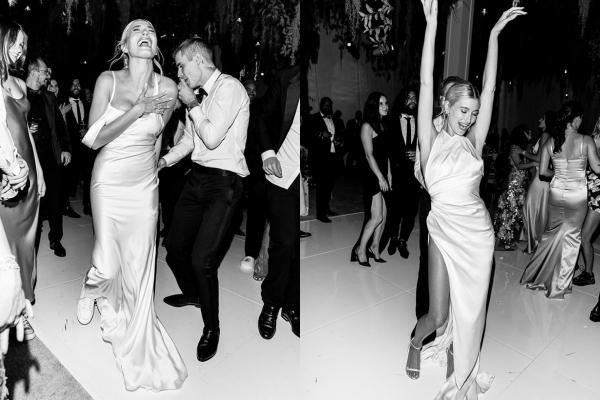 Hailey Bieber đi giày thể thao khiêu vũ cùng chồng trong lễ cưới-1