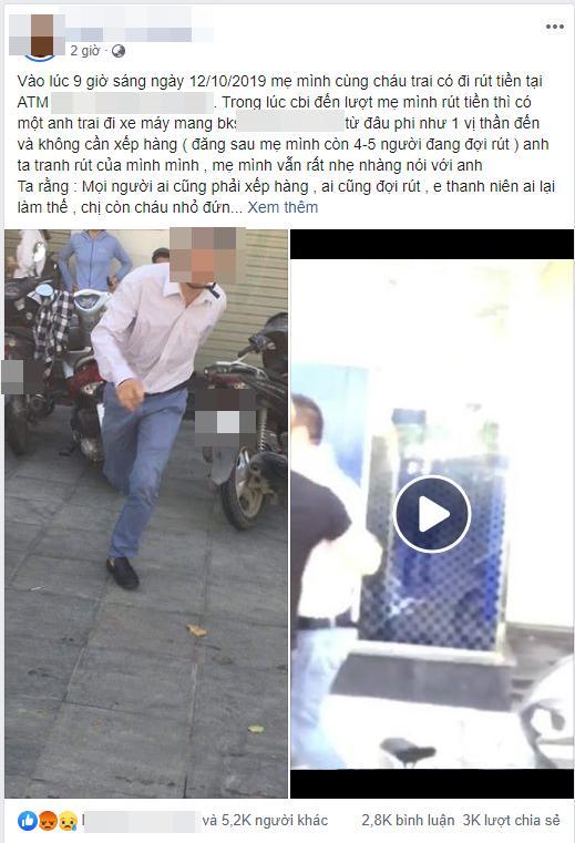 Clip: Người đàn ông hùng hổ lao ra đánh phụ nữ ở cây ATM vì bị nhắc không chịu xếp hàng, còn quát Biết tao là ai không?-1