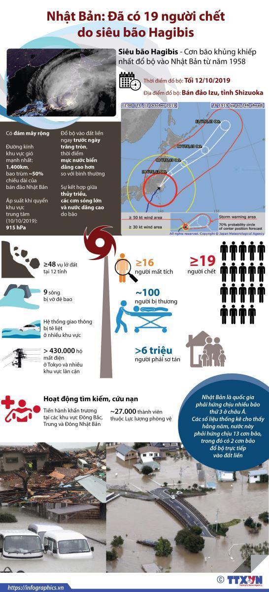 Siêu bão Hagibis hoành hành, 19 người tử vong tại Nhật Bản-1