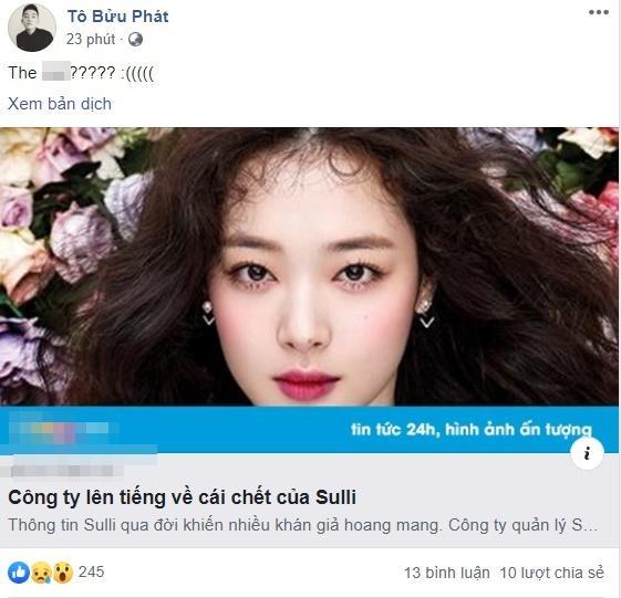 Dàn hotface Việt từ không tin đến sốc tột cùng khi nghe hung tin Sulli treo cổ tự tử ở tuổi 25-2