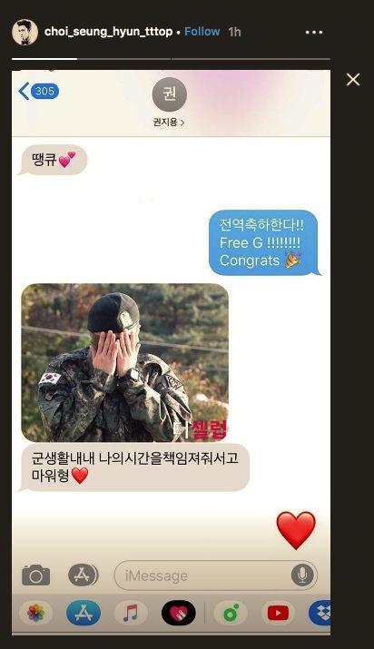 Fan 'đẩy thuyền' T.O.P và G-Dragon sau tin nhắn và hình ảnh cực tình cảm này!-1