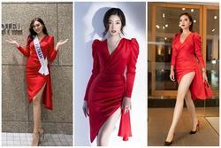 Diện chiếc váy đỏ tươi, Tường San ghi điểm vì lấn át đối thủ Miss International lại chẳng hề kém cạnh Đỗ Mỹ Linh
