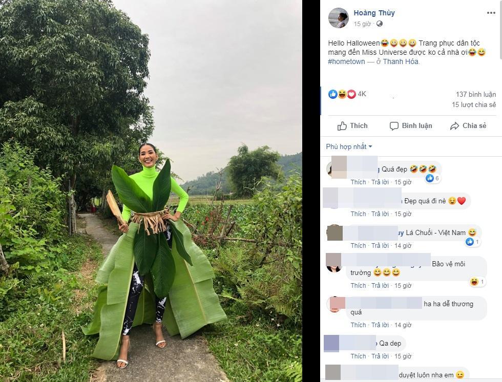 Một công đôi việc: Hoàng Thùy tự thiết kế váy lá chuối đón Halloween vừa định mang dự thi Miss Universe-2
