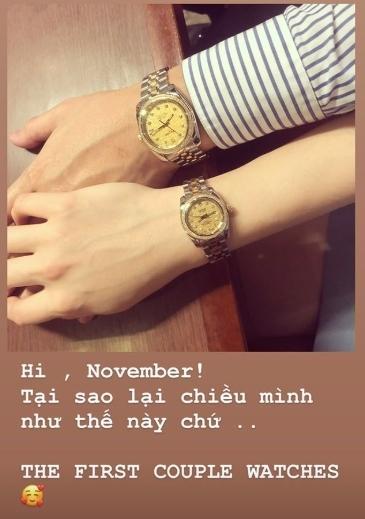 Em chồng Tăng Thanh Hà lại khiến fan phát hờn khi sắm đồng hồ đôi hàng trăm triệu cho người yêu-1