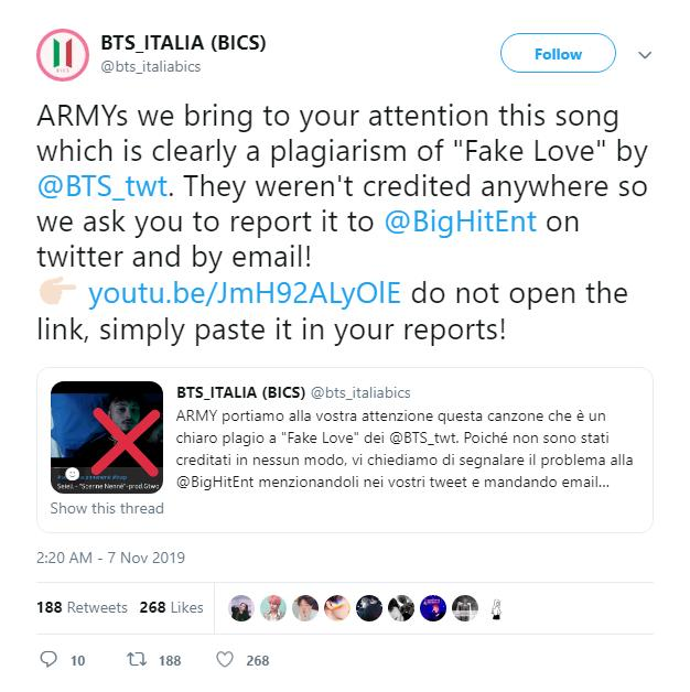 ARMY phẫn nộ trước nam ca sĩ người Ý đạo nhạc Fake Love vừa phân biệt chủng tộc BTS-4