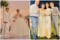 Chiều cao hạn chế, Ông Cao Thắng phải nhờ cậy sneaker độn đế cho tương xứng cô dâu trong ngày cưới