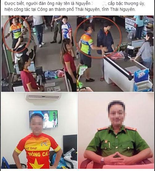 Thực hư thông tin ông bố lấy xúc xích ném vào mặt và đánh nhân viên thu ngân là cán bộ công an tỉnh Thái Nguyên?-1