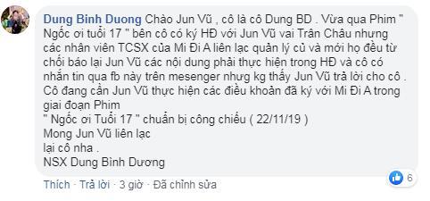 NSX Dung Bình Dương bức xúc khi Jun Vũ vi phạm hợp đồng, có thái độ bất hợp tác không tham gia quảng bá phim mới?-1