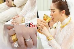 Đếm 'sương sương' số vàng bạc, kim cương mà Bảo Thy và chồng đại gia 'đắp' lên người ngày cưới cũng gần 20 món