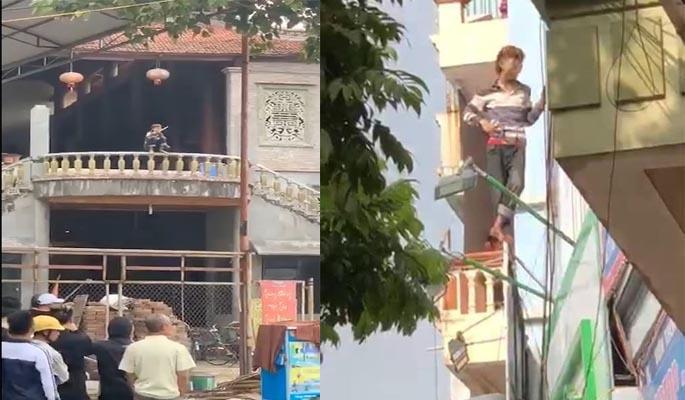 Giải cứu nam thanh niên ngáo đá tự chặt tay mình ở thị trấn Trâu Quỳ, Hà Nội-1