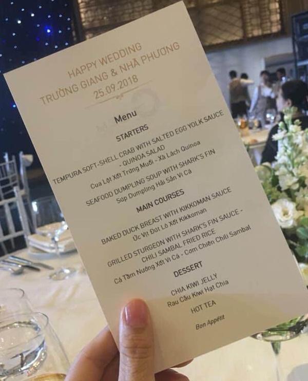 So thực đơn trong tiệc cưới của Cường Đô La, Trường Giang và sao Việt-10