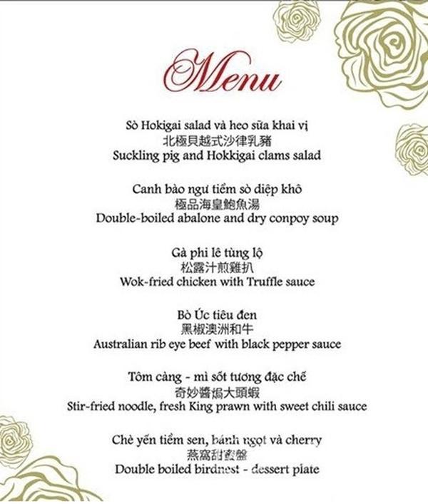 So thực đơn trong tiệc cưới của Cường Đô La, Trường Giang và sao Việt-14