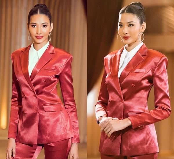 Bản tin Hoa hậu Hoàn vũ 17/11: Hoàng Thùy mặc suit đỏ chót vẫn khó chặt suit xanh của hoa hậu Leila-1