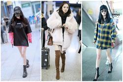 Dương Mịch chuộng style giấu quần khoe chân thon mỗi khi ra sân bay